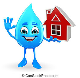 Water Drop Character with home - Cartoon Character Of Water...