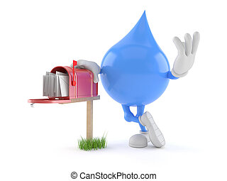 Water drop character with mailbox isolated on white...