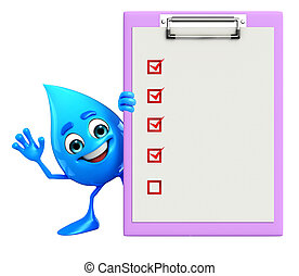 Water Drop Character with notepad - Cartoon Character Of...