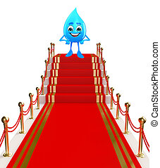 Water Drop Character with red carpet - Cartoon Character Of...