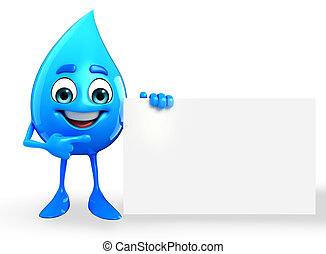 Water Drop Character with sign - Cartoon Character Of Water...