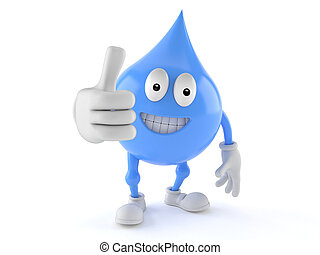 Water drop character with thumbs up gesture isolated on...