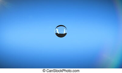 Water drop falling on blue background and splashing in slow motion, hd and alpha mask.
