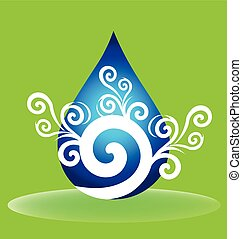 Water drop floral logo