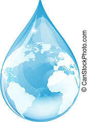 Water drop globe - Water drop earth globe environmental...