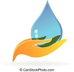 Water drop hand care logo