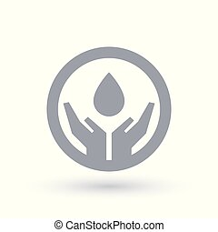 Water drop hands icon. Water conservation symbol.