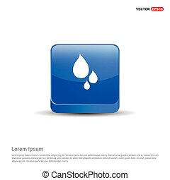 Water Drop Icon - 3d Blue Button