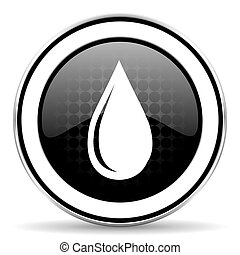 water drop icon, black chrome button