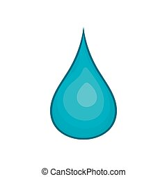 Water drop icon, cartoon style