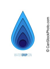 Water drop icon. Vector blue paper water drop isolated on white background.