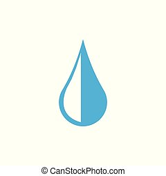 Water drop icon. Vector illustration, flat design. Blue on white background.