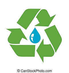 Water drop icon with recycle sign