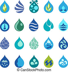 Water drop icons and design elements.