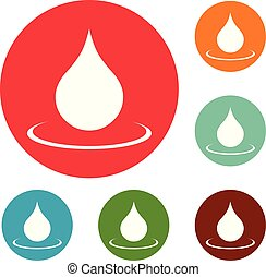 Water drop icons circle set vector