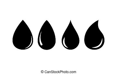 Water drop icons set flat style black on white background