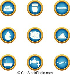 Water drop icons set, flat style