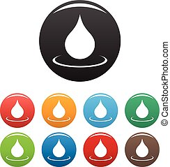 Water drop icons set vector