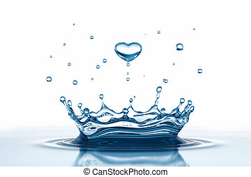 Water drop in form of heart