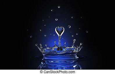 Water drop in form of heart in blue spot light