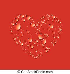 Water drop in shape heart