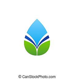 water drop logo and natural leaves symbol icon vector design