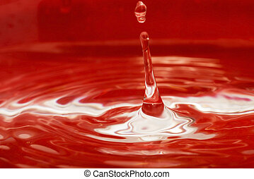 Water drop on a red background