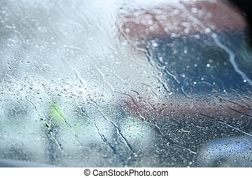 Water drop on the glass of windows background.