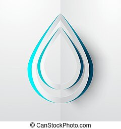 Water Drop Paper Cut Vector