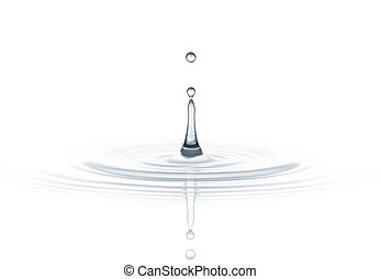 water drop - drop of water created ripple against white...