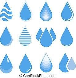 water drop set, blue drop buttons