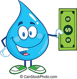 Water Drop Showing A Dollar Bill - Water Drop Character...