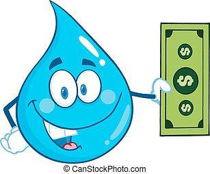 Water Drop Showing A Dollar Bill