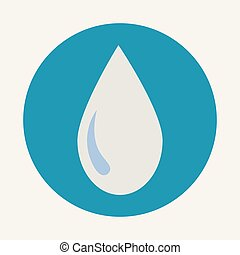 Water drop sign icon. Tear symbol. Blue circle button with icon. Vector