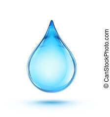water drop - illustration of a single blue shiny water drop