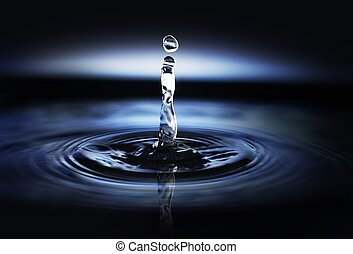 Water Drop - Water drop creating waves and ripples in on a...