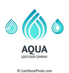 Water drop symbol, blue logo template icon
