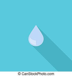 Water drop symbol. Vector illustration of flat color icon with long shadow.