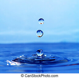 Water drop - The round transparent drop of water falls...