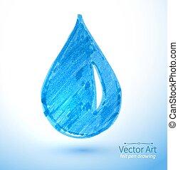 Vector felt pen child drawing of water drop.