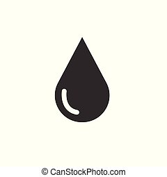 water drop vector icon black on white background. symbol