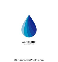 water drop vector icon in blue color with lines