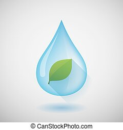 Water drop with a leaf