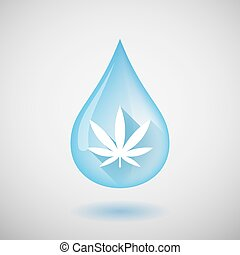 Water drop with a marijuana leaf
