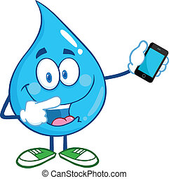 Water Drop With A Mobile Phone - Water Drop Character...