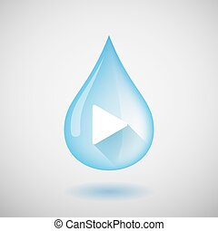 Water drop with a play sign