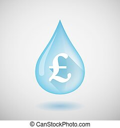 Water drop with a pound sign - Illustration of a water drop...