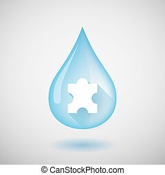 Water drop with a puzzle piece