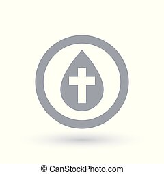 Water drop with cross symbol. Baptism icon. Baptise sign -...
