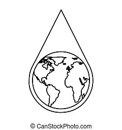 water drop with earth planet